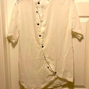 No Collar Asymmetrical S/S Button Down Dress Shirt